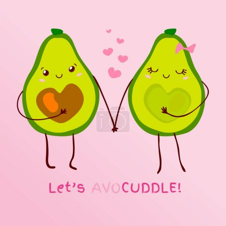 Illustration for Funny cute couple avocado kawaii cartoon style. Slogan text Lets avocuddle pun lettering for valentines day card design. Hand drawn vector illustration. - Royalty Free Image