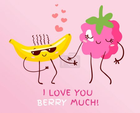 Illustration for Funny cute couple avocado kawaii cartoon style. Slogan text i love you berry much pun lettering for valentines day card design. Hand drawn vector illustration. - Royalty Free Image