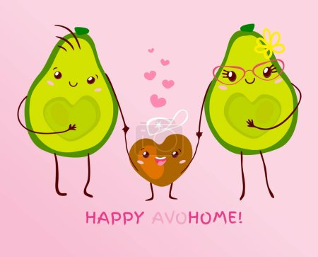 Illustration for Funny cute couple avocado kawaii family with kid cartoon style. Happy little boy slogan text Happy avohome pun lettering for poster banner card design. Hand drawn vector illustration. - Royalty Free Image