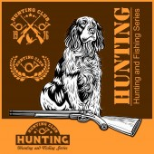 duck hunting - dog and gun Vector illustration