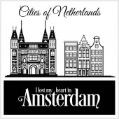 Amsterdam - City in Netherlands Detailed architecture Trendy vector illustration
