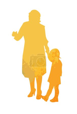 The Multicolored silhouette of mom and daughter. Vector illustration