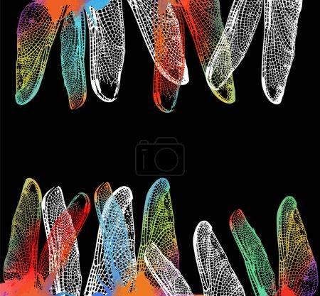Hintergrund mit bunten Flügeln von Libellen. Vektorillustration