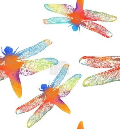 die Silhouette einer Regenbogenlibelle. nahtloses Muster mit bunten Libellen. Vektorillustration