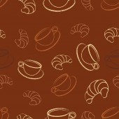 seamless pattern with coffee and croissant classic combination of coffee and baking healthy and delicious morning snack coffee background
