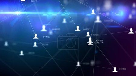 Photo pour Un grand nombre de connexions entre les avatars des hommes et des femmes et le nombre de relations, illustration abstraite de réseau social - image libre de droit
