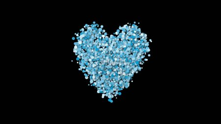 Photo for Valentines day greeting illustration card, heart shape of many particles - Royalty Free Image