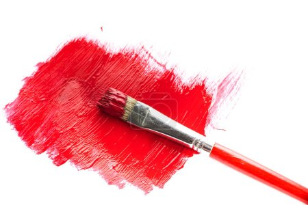 Photo for Splashes of red paint and brush - Royalty Free Image