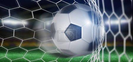 football ball in net of goal, 3d rendering