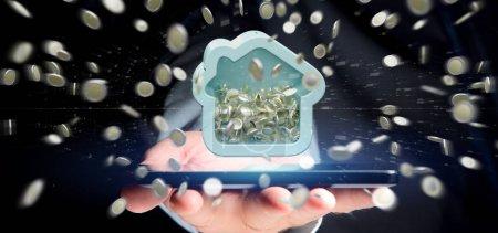 Photo pour Homme tenant la tirelire de la maison avec des pièces, rendu 3d - image libre de droit
