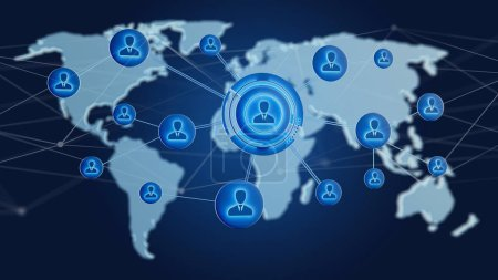 Photo for Network over connected world map on uniform background. 3d rendering - Royalty Free Image