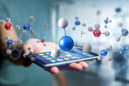 male hand holding smartphone and 3d rendering molecule,  medical interface