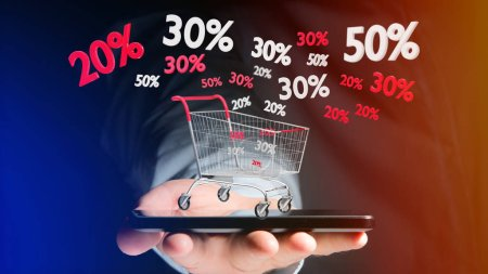 View of a Businessman holding smartphone with red and white Trolley and sales discount - 3d render