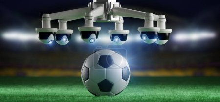 View of a Camera assistance for the refereeing of football match concept - 3d rendering