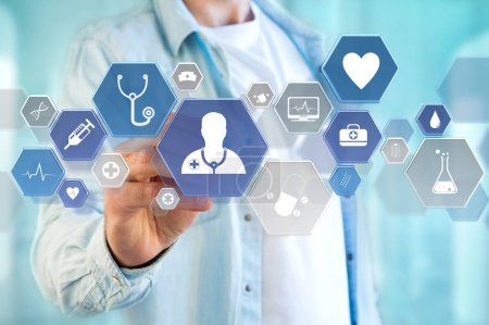 Photo for Medical and general healthcare icon displayed on a technology interface - Royalty Free Image