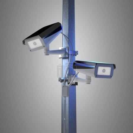View of Street security cctv camera - 3d rendering