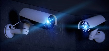 View of Security CCTV camera system - 3d rendering