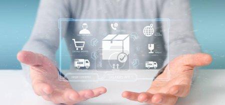 Photo pour Vue d'un homme d'affaires tenant un écran d'application de livraison logistique rendu 3D - image libre de droit