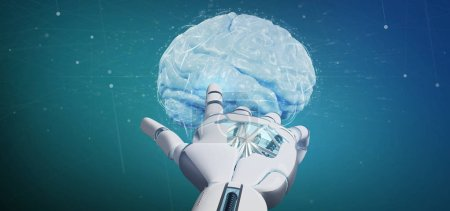 Photo for View of a Cyborg hand holding a  artificial brain 3d rendering - Royalty Free Image