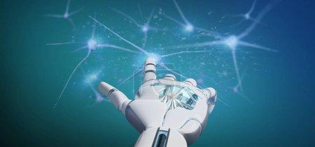 Photo pour Vue d'une main de Cyborg tenant un groupe de neurones rendu 3d - image libre de droit