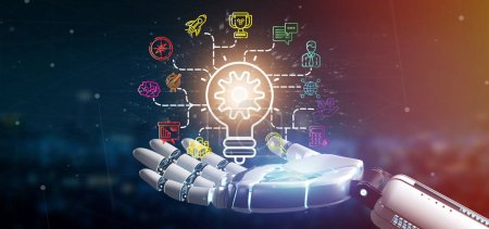 Photo pour Vue d'une main Cyborg tenant un concept d'idée de lampe à ampoule avec icône de démarrage connectée au rendu 3D - image libre de droit