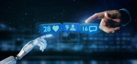 Photo pour Cyborg main tenant Like, Suivre et notification de message sur le réseau social - rendu 3d - image libre de droit