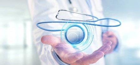 Foto de Vista de un Doctor sosteniendo un estetoscopio médico en 3D - Imagen libre de derechos