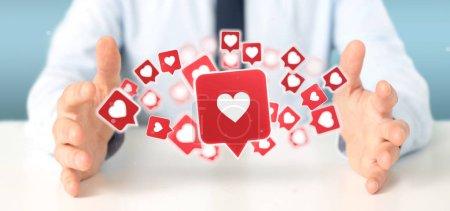 Ansicht eines Geschäftsmannes, der wie eine Benachrichtigung auf einem sozialen Medien 3D-Rendering hält