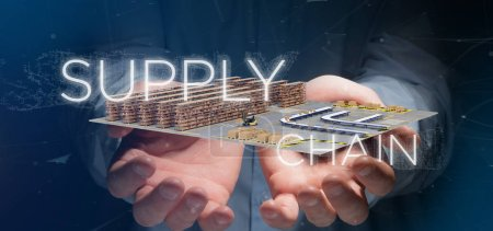 Photo for View of a Businessman holding a Supply Chain title with a warehouse on background 3d rendering - Royalty Free Image