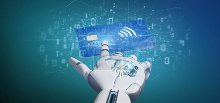 Photo for View of a Cyborg hand holding a Contactless credit card payment concept 3d rendering - Royalty Free Image