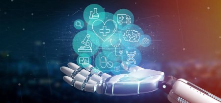 Photo for View of a Cyborg hand holding a Medical icon and connection 3d rendering - Royalty Free Image