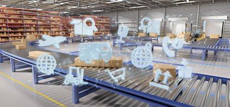 Photo pour Vue d'une organisation logistique sur fond d'entrepôt rendu 3d - image libre de droit