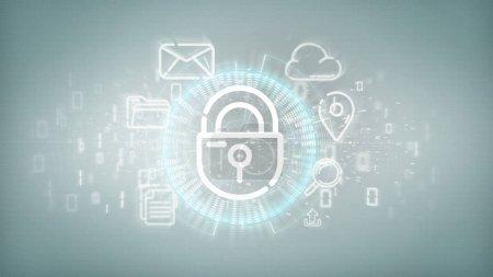 Photo pour Vue d'une icône de roue de cadenas de sécurité avec affichage 3D de l'icône multimédia et des médias sociaux - image libre de droit