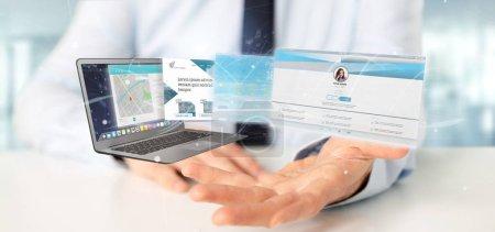 Photo pour Vue d'un homme d'affaires tenant une application de site Web sortant un écran d'ordinateur portable rendu 3d - image libre de droit