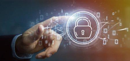 Photo pour Vue de l'homme d'affaires tenant l'icône de roue de cadenas de sécurité avec des statistiques et un rendu 3d de code binaire - image libre de droit
