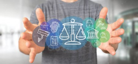 Photo pour Vue de l'homme d'affaires tenant Cloud de la justice et bulle icône de la loi avec des données de rendu 3d - image libre de droit