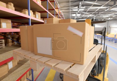 Photo for Cardbox mock up view in a warehouse - 3d rendering - Royalty Free Image