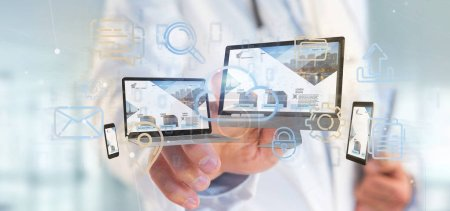Photo for View of a Doctor holding a Devices connected to a cloud multimedia network 3d rendering - Royalty Free Image