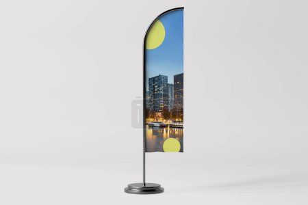 Photo for View of a Flag Advertisement Mockup - 3d rendering - Royalty Free Image