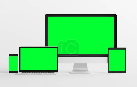 Photo for Mock up view of a devices isolated on a background with shadow - Royalty Free Image