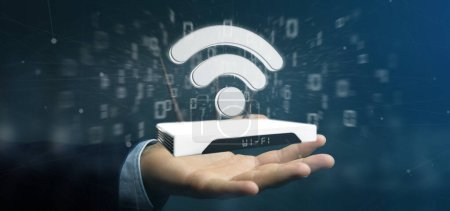 Photo for View of a Businessman holding a Wifi router and data - 3d rendering - Royalty Free Image