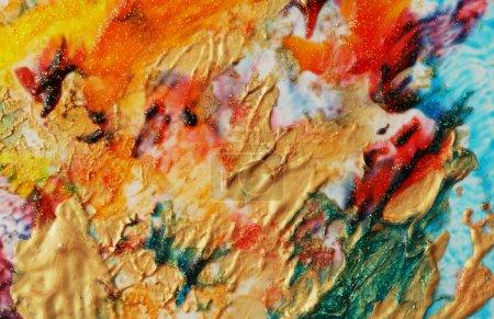 Photo pour Fond de couleur abstrait. Peinture acrylique avec étincelles. Des taches colorées. Texture de marbre . - image libre de droit