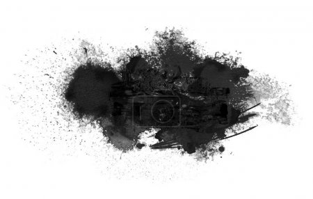 Photo for Black ink blot. Isolated on white. Abstract acrylic and watercolor painted card. Texture paper background. - Royalty Free Image