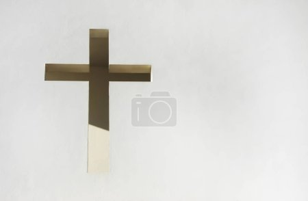 Photo for Christian cross on white wall - Royalty Free Image