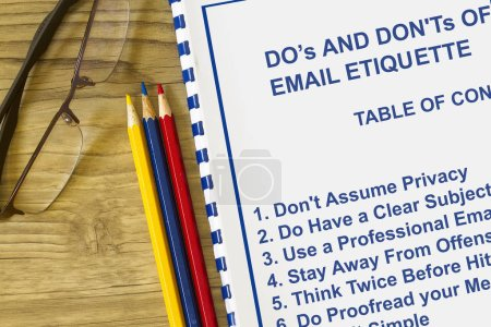 Do's and don'ts of email etiquette concept with table of contents.