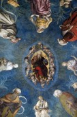 The vault shows God the Father among prophets, sibyls and angels, Basilica of Saint Frediano, fresco, Lucca, Tuscany, Italy