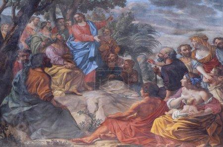 Sermon on the Mount, fresco in the basilica of Sai...