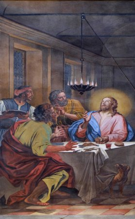 Supper at Emmaus, fresco in the basilica of Saint ...