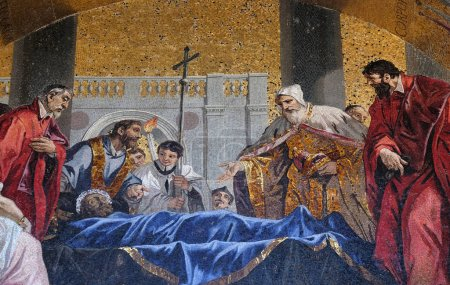St. Mark's body being venerated by the Doge and Venetian magistrates, lunette mosaic of St. Mark's Basilica, St. Mark's Square, Venice, Italy, UNESCO World Heritage Site
