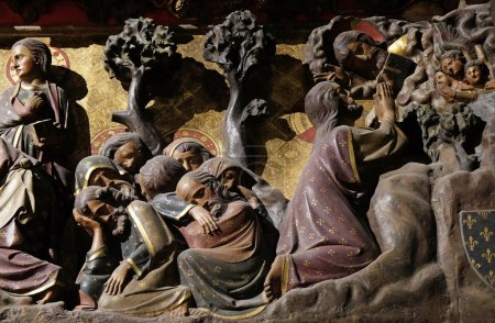 Intricately carved and painted frieze inside Notre Dame Cathedral depicting Agony in the Garden, Jesus in the Garden of Gethsemane, UNESCO World Heritage Site in Paris